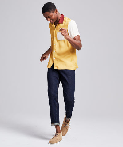 Colorblock Bowling Shirt in Mustard