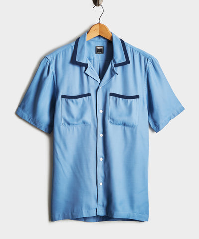 Tipped Bowling Shirt in Blue