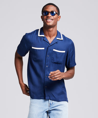 Tipped Bowling Shirt in Navy