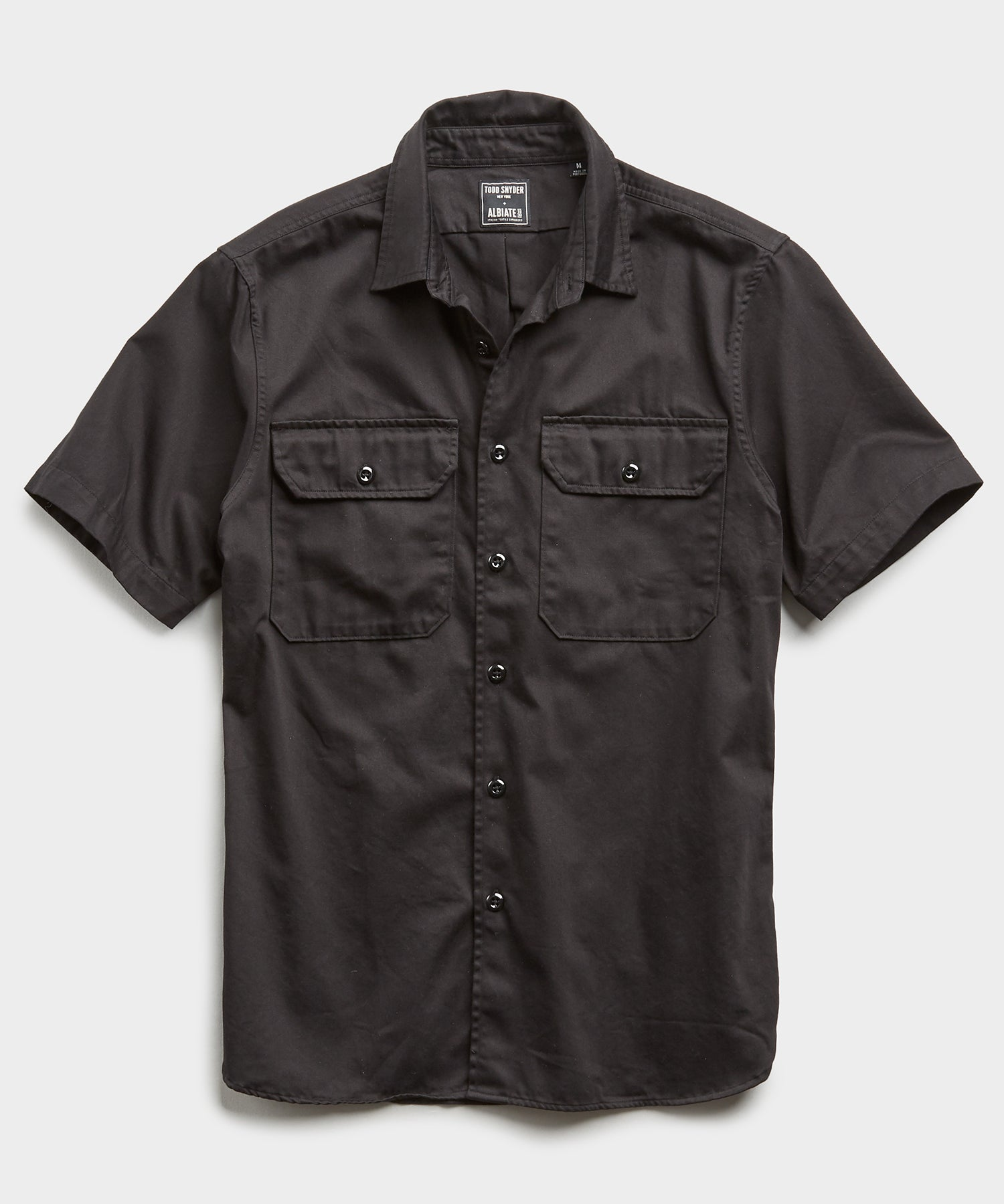 Italian Two Pocket Utility Short Sleeve Shirt in Black