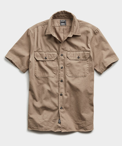 Italian Two Pocket Utility Short Sleeve Shirt in Khaki