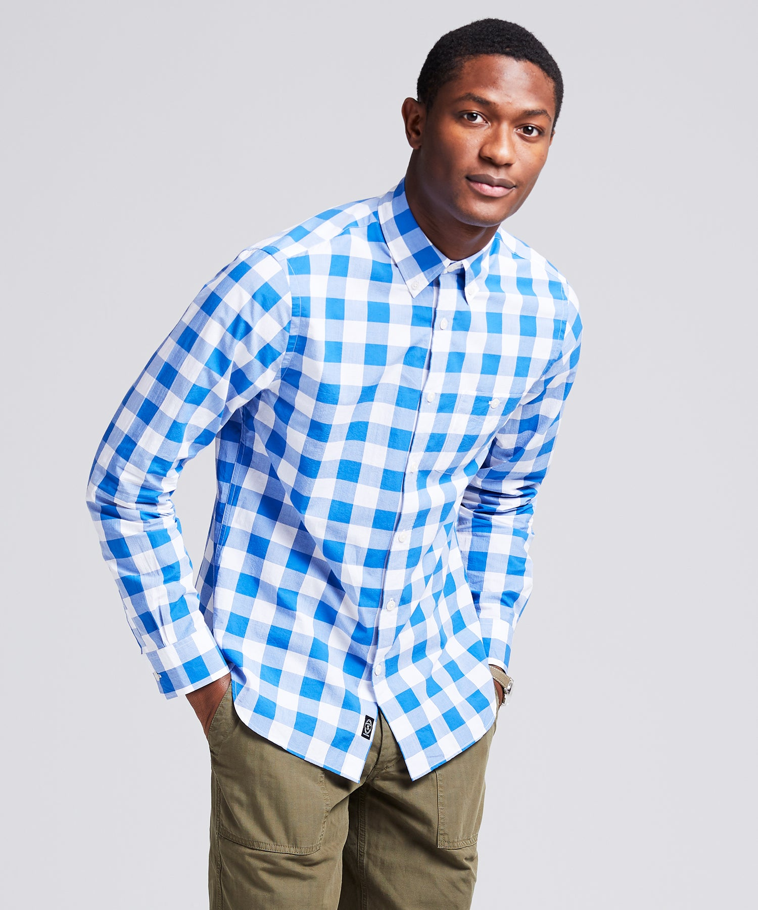 Button Down Collar Gingham Long Sleeve Shirt