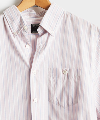 Pink Stripe Button Down Collar Long Sleeve Shirt