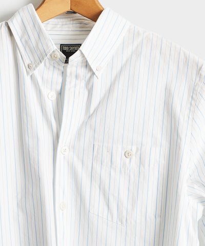 Button Down Collar Light Blue Stripe Long Sleeve Shirt