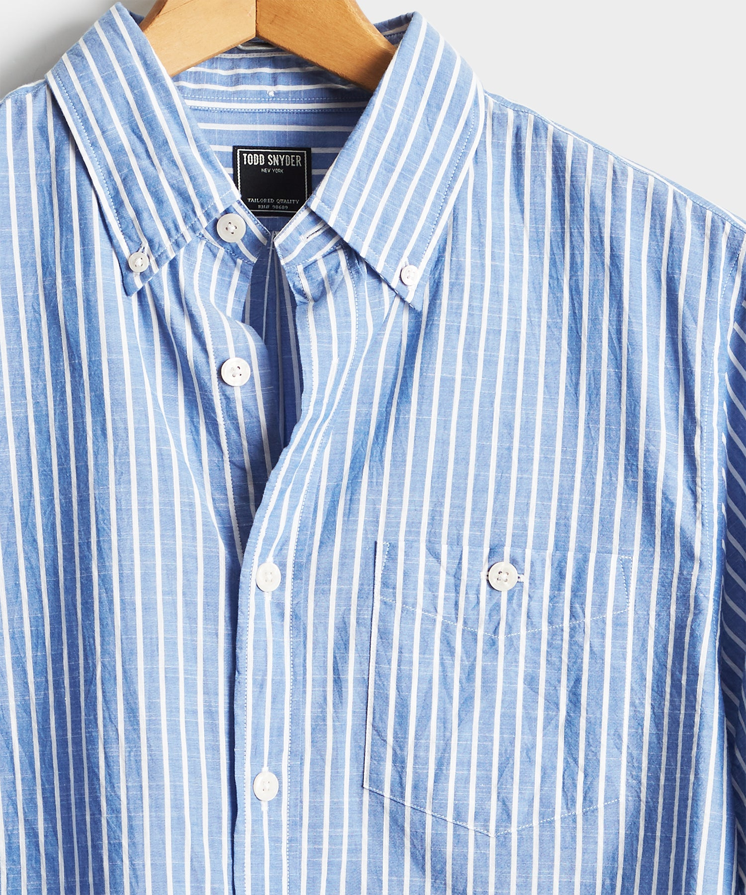 Blue with White Button Down Collar Stripe Long Sleeve