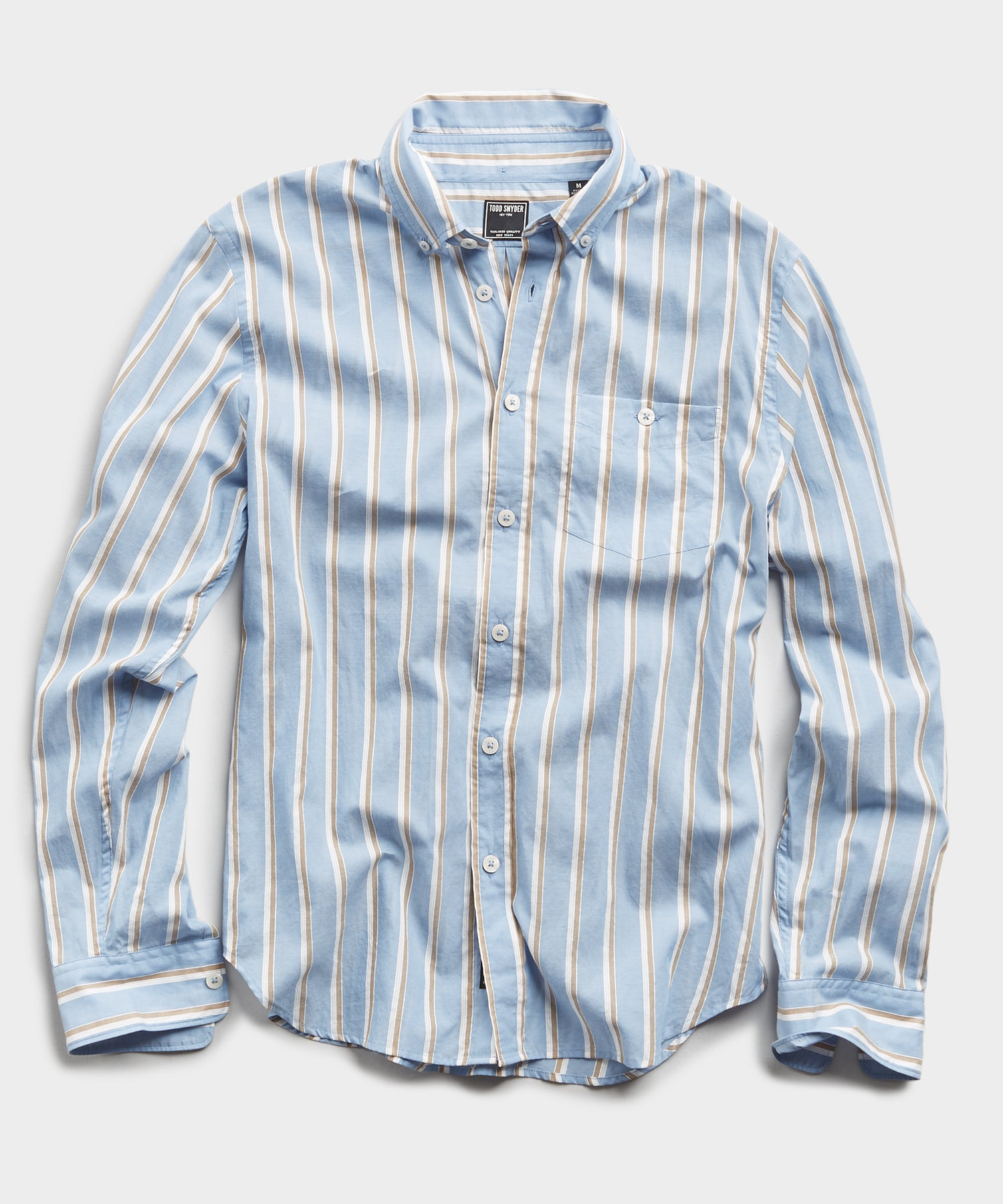 Blue Stripe Button Down Collar Long Sleeve Shirt