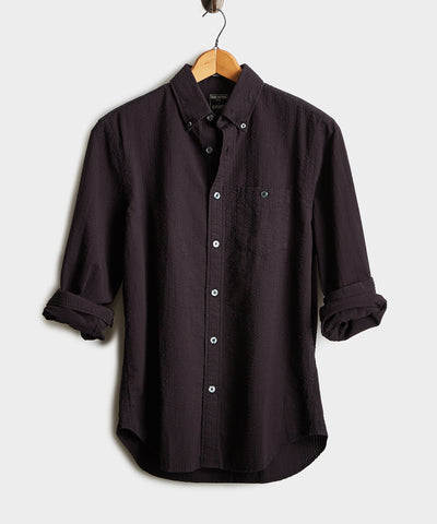 Italian Seersucker Long Sleeve Shirt in Black
