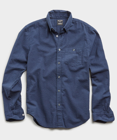 Italian Seersucker Long Sleeve Shirt in Navy