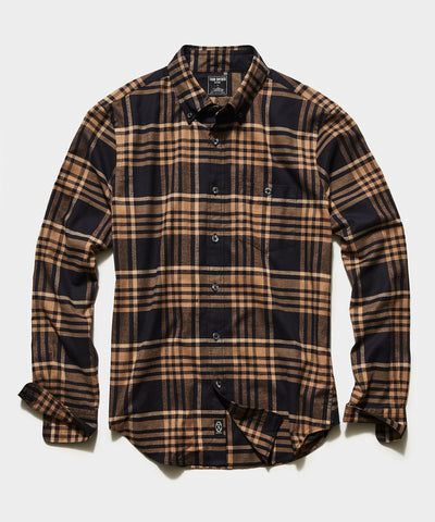 Italian Navy Camel Flannel Button Down Shirt