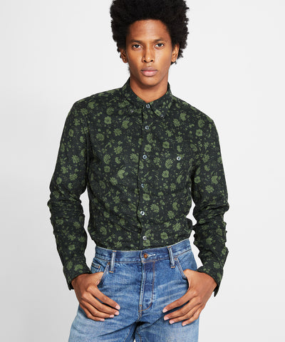 Italian Micro Cord Floral Shirt in Olive