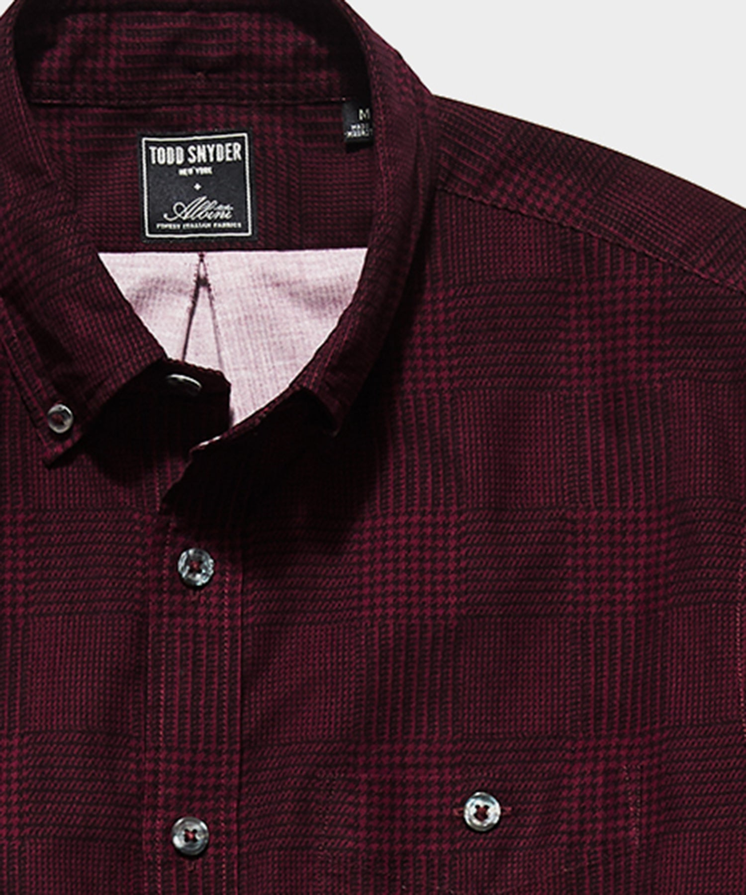 Italian Micro Cord Glen Plaid Shirt in Burgundy