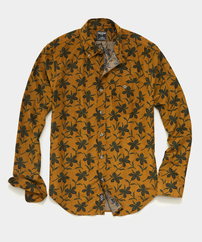 ITALIAN MICRO CORD Floral  SHIRT IN Yellow