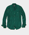 Thomas Mason Buffalo Check Brushed Twill Shirt in Green