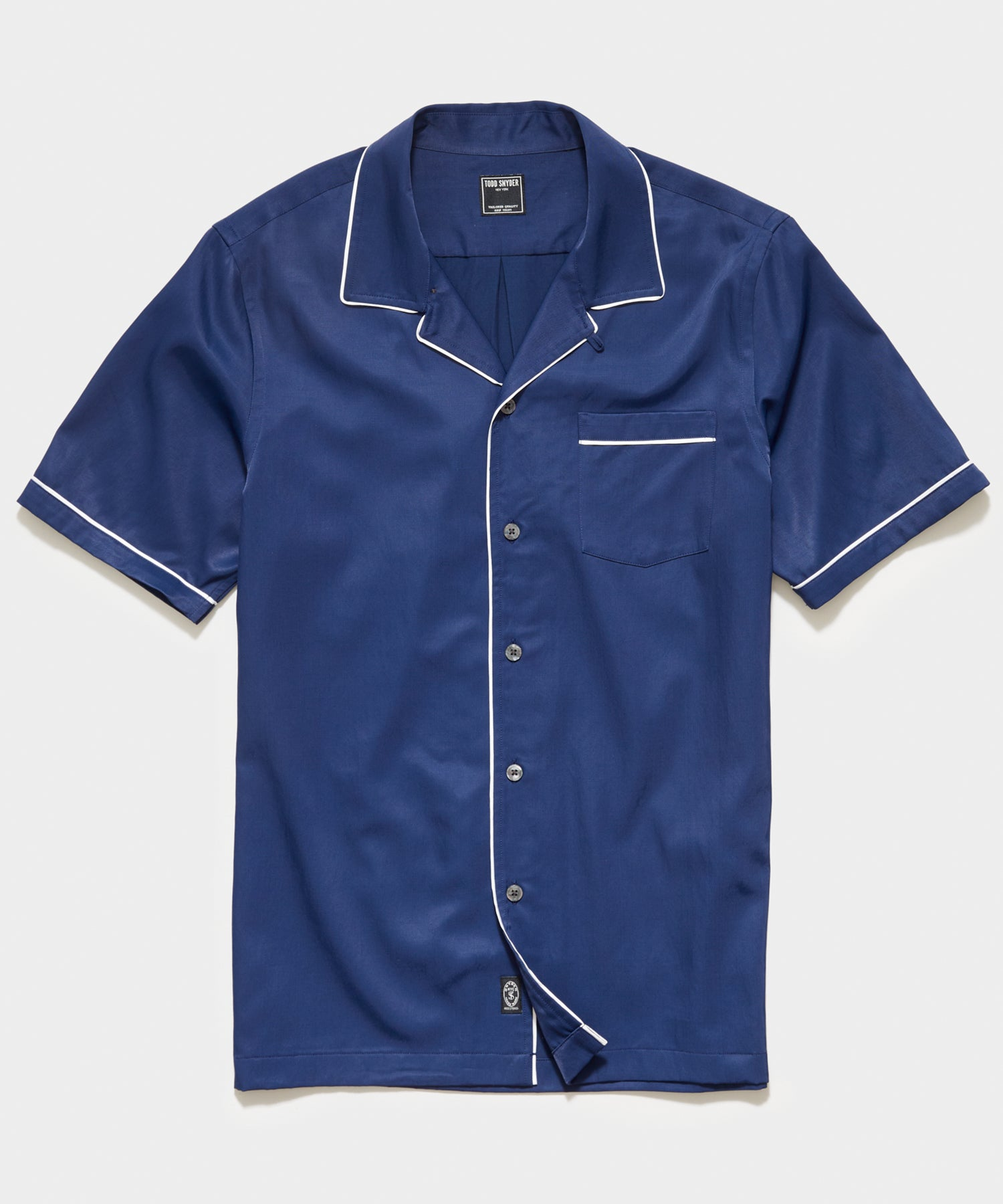 Japanese Tipped Rayon Shirt in Navy
