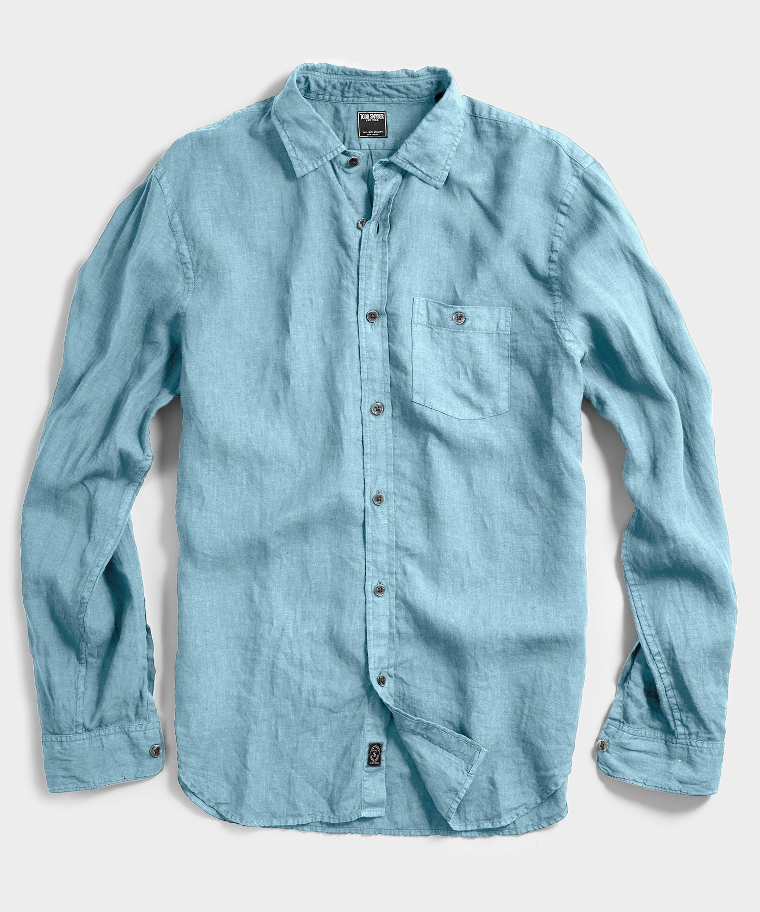 Spread Collar Linen Shirt in Light Blue