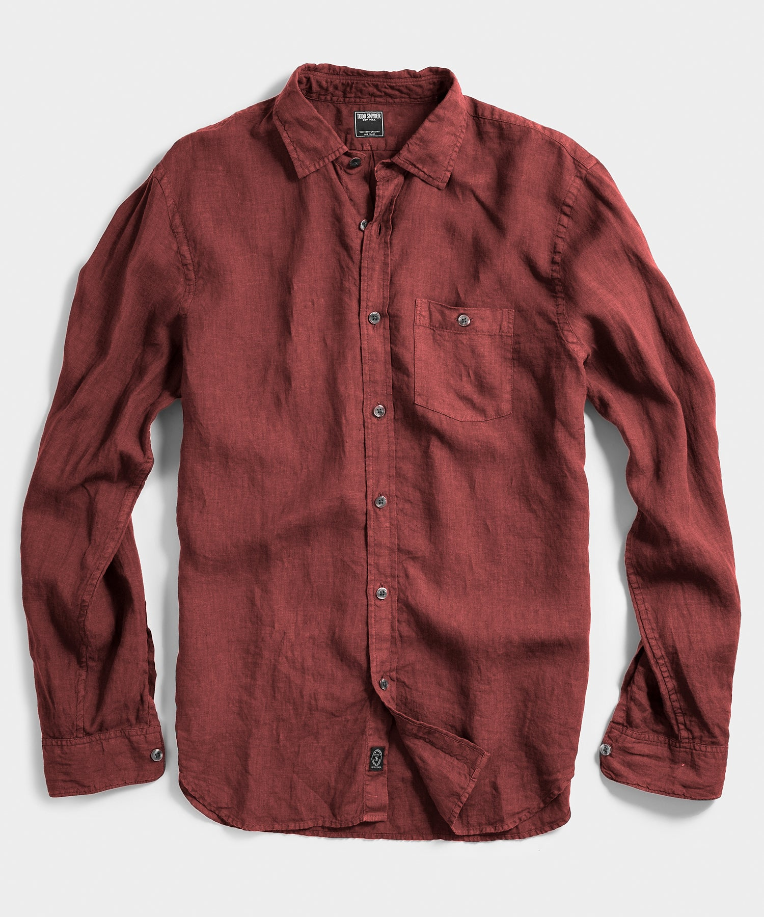 Spread Collar Linen  Shirt in Brick