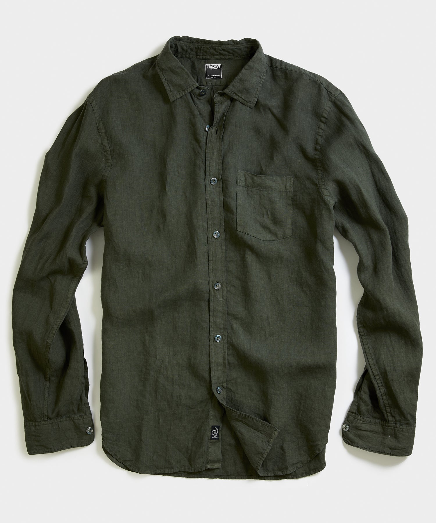 Spread Collar Linen Shirt in Cypress