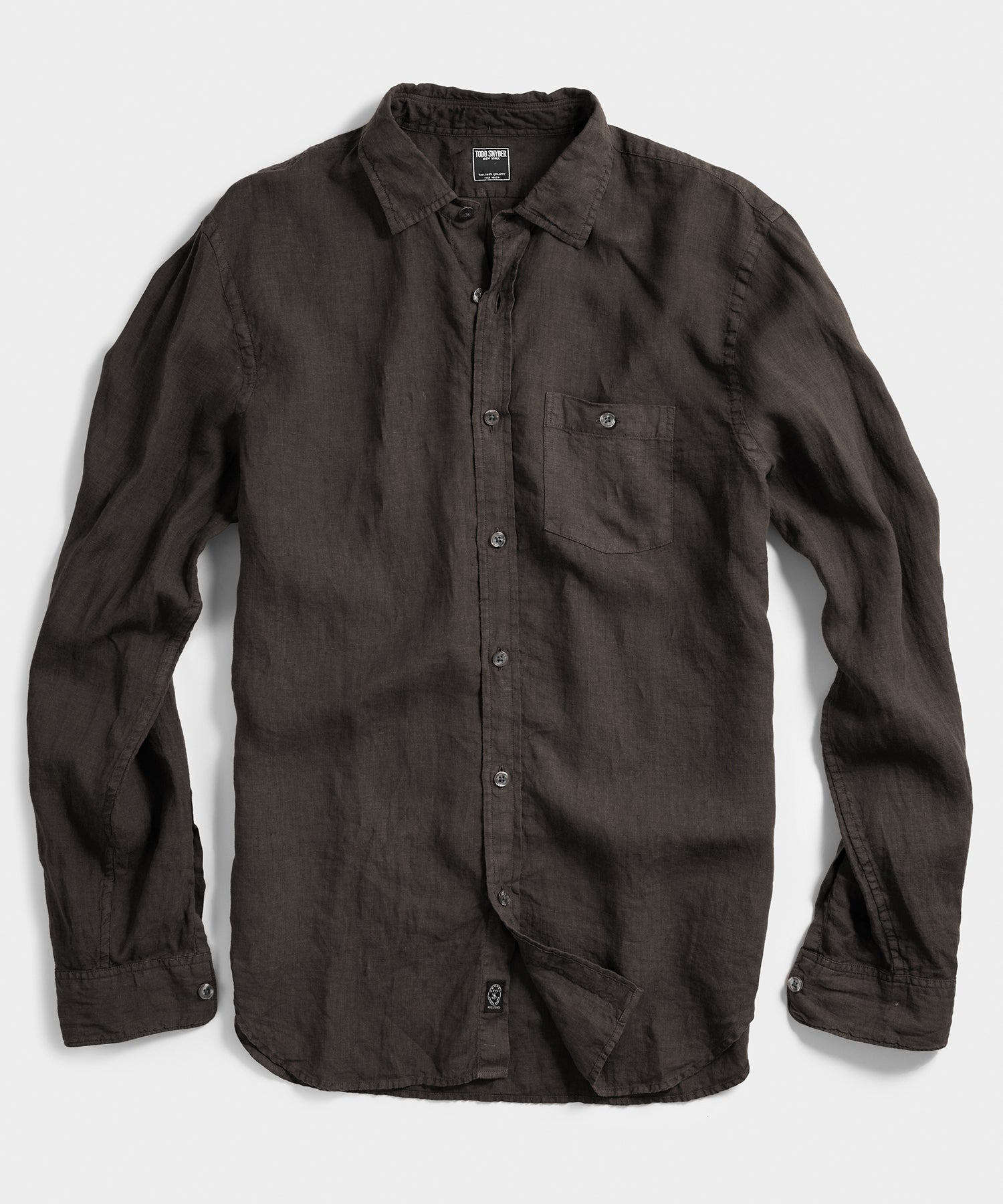 Spread Collar Linen Shirt in Brown