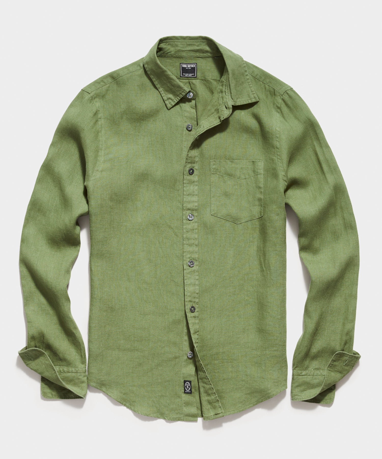 Irish Linen Spread Collar Long Sleeve Shirt in Bright Green