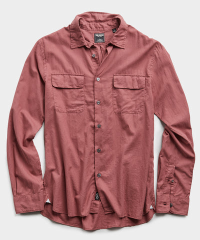 Lightweight Italian Military Shirt in Mauve