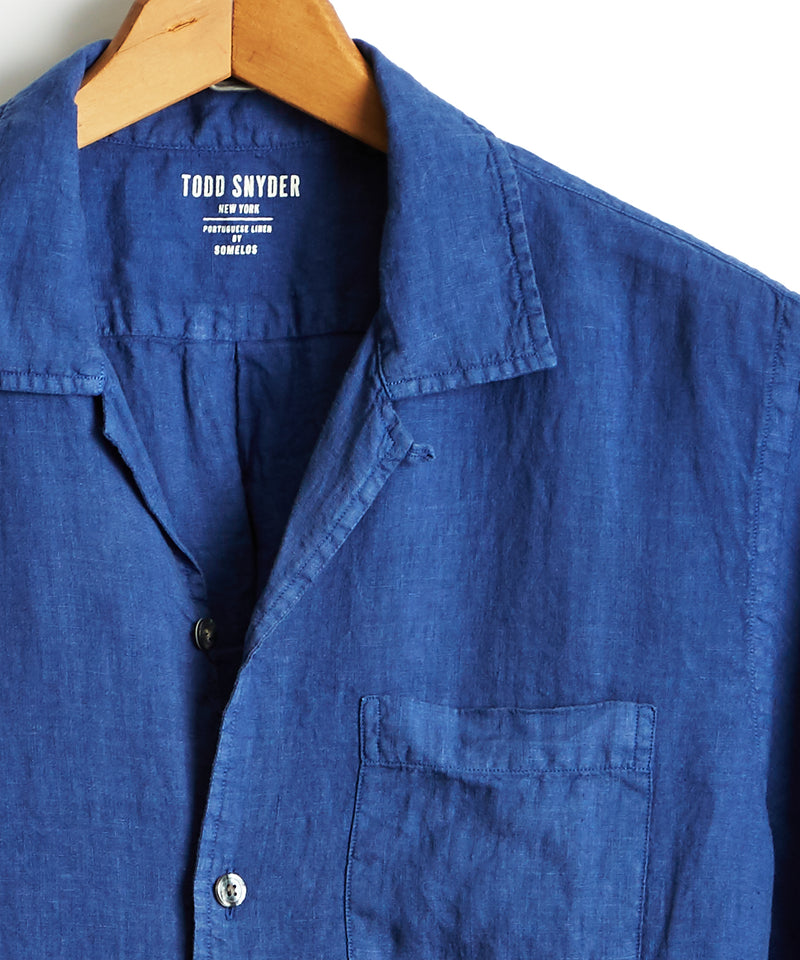 Short Sleeve Camp Collar Linen Shirt in Royal Blue