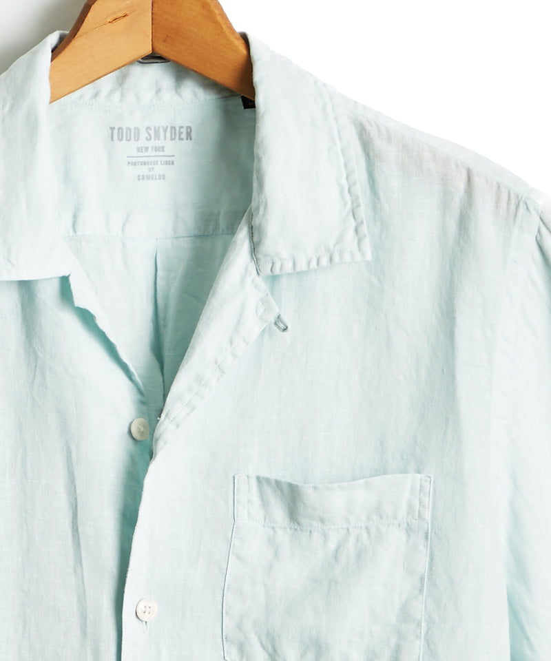 Short Sleeve Camp Collar Linen Shirt in Ice Blue