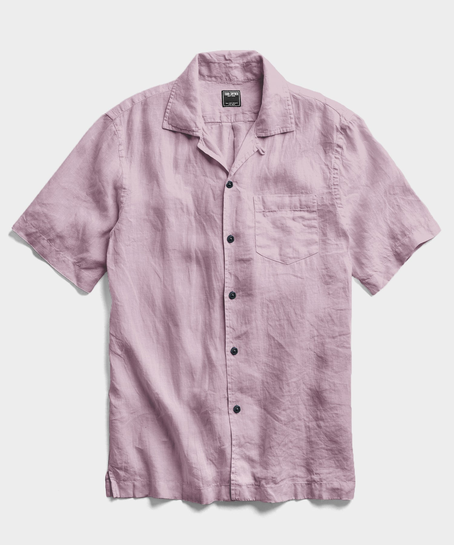 Short Sleeve Linen Camp Collar Shirt in Lavender