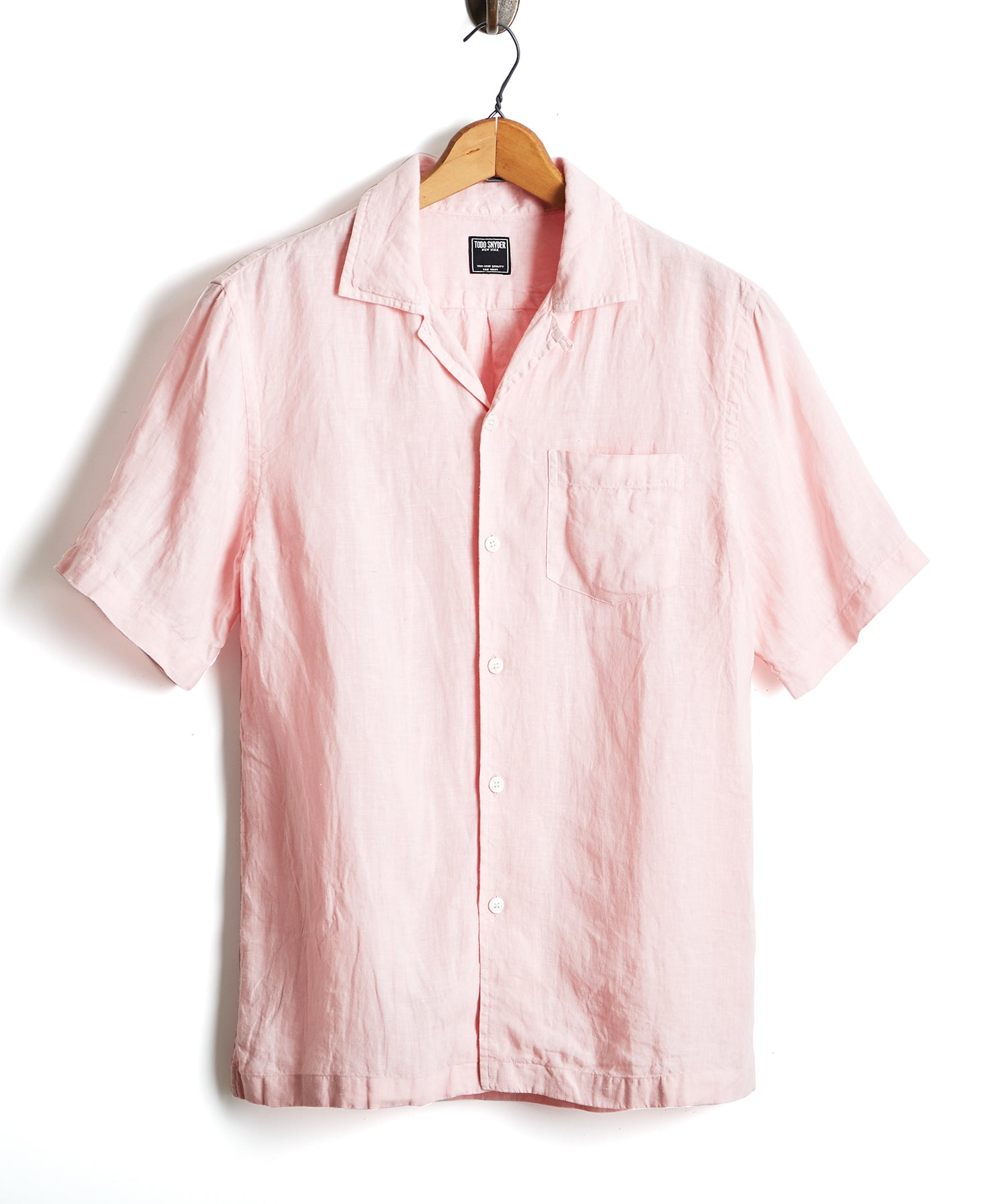 Short Sleeve Linen Camp Collar Shirt in Pink