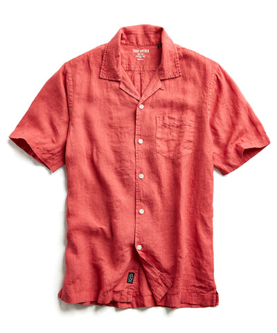 Short Sleeve Camp Collar Linen Shirt in Nantucket Red