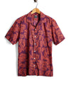 Short Sleeve Floral Leaf Camp Collar Shirt in Red