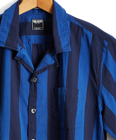 Short Sleeve Awning Bold Stripe Camp Collar Shirt in Blue