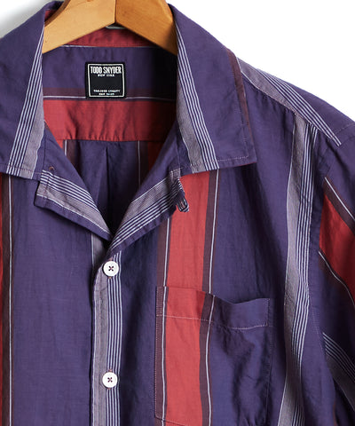 Short Sleeve Awning Stripe Camp Collar Shirt