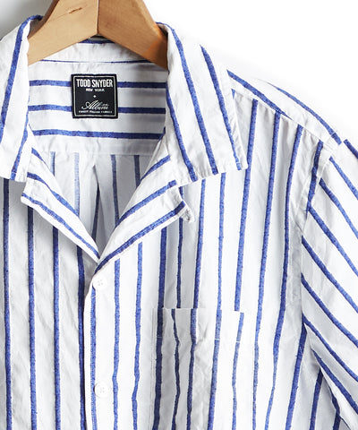 Short Sleeve Barre Stripe Camp Collar Shirt