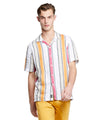 Short Sleeve Awning Stripe Camp Collar Button Down Shirt in Orange