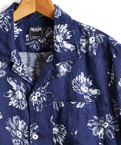 Short Sleeve Linen Floral Camp Collar Shirt in Navy
