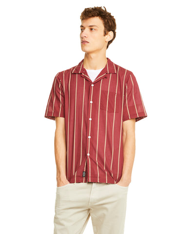 Burgundy Camp Collar Lightweight Shirt