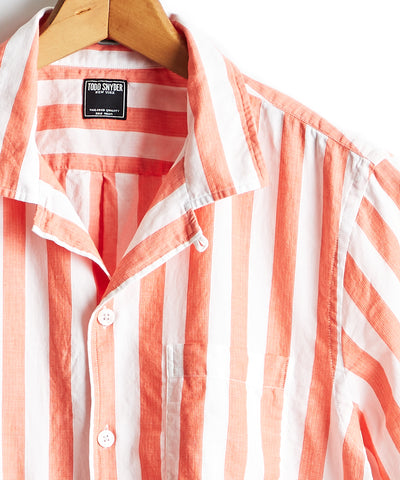 Short Sleeve Camp Collar Bold Stripe Shirt in Coral