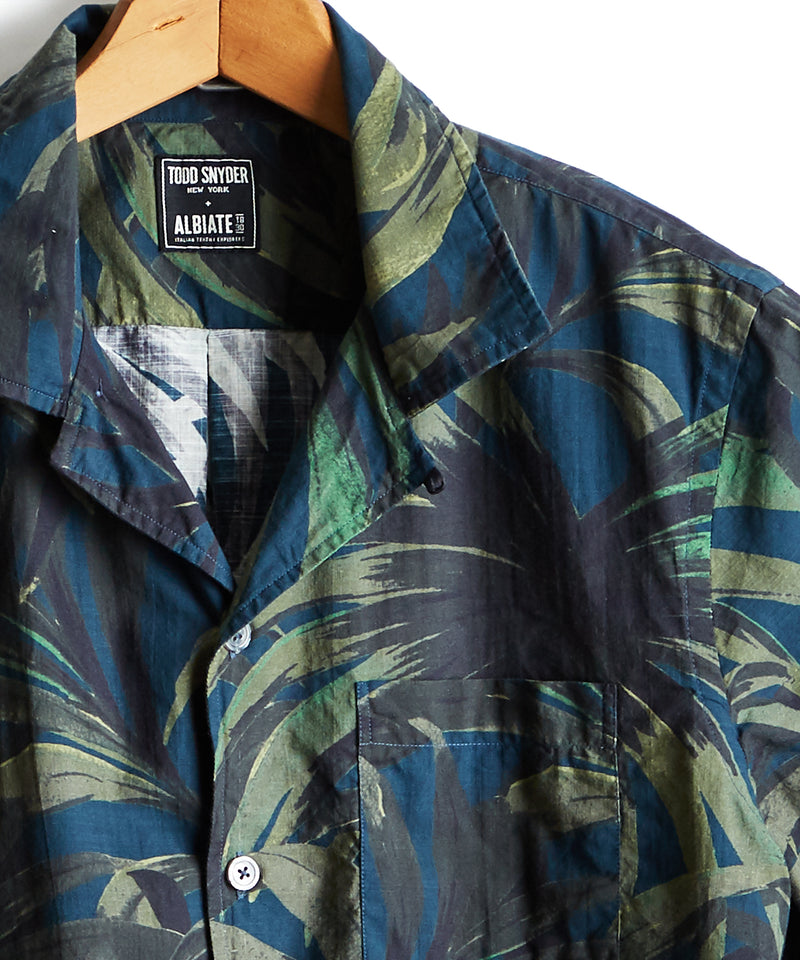 Short Sleeve Cotton Camp Collar Olive Palm Print Shirt