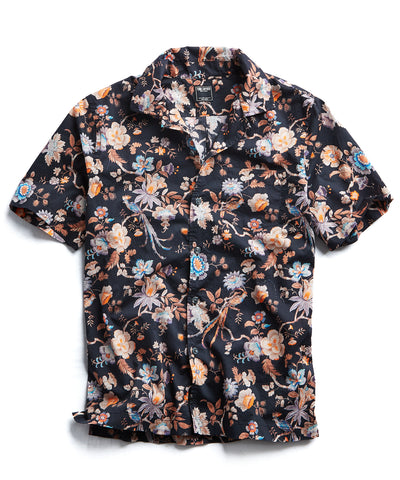 Liberty Camp Collar Floral Print in Black