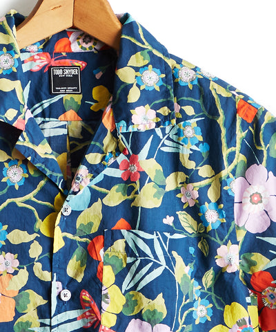 Liberty Camp Collar Tropical Print in Blue