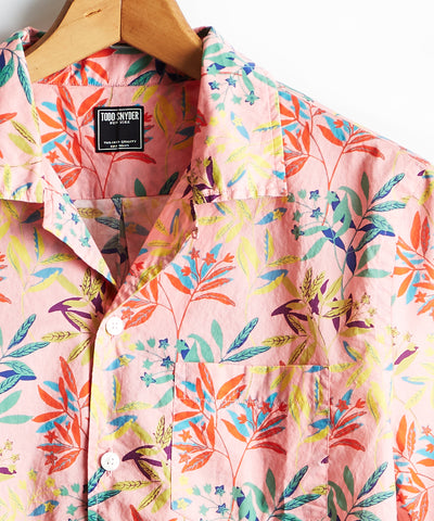 Liberty Camp Collar Leaves Print in Pink