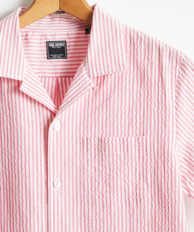 Camp Collar Seersucker Stripe Short Sleeve Shirt in Pink