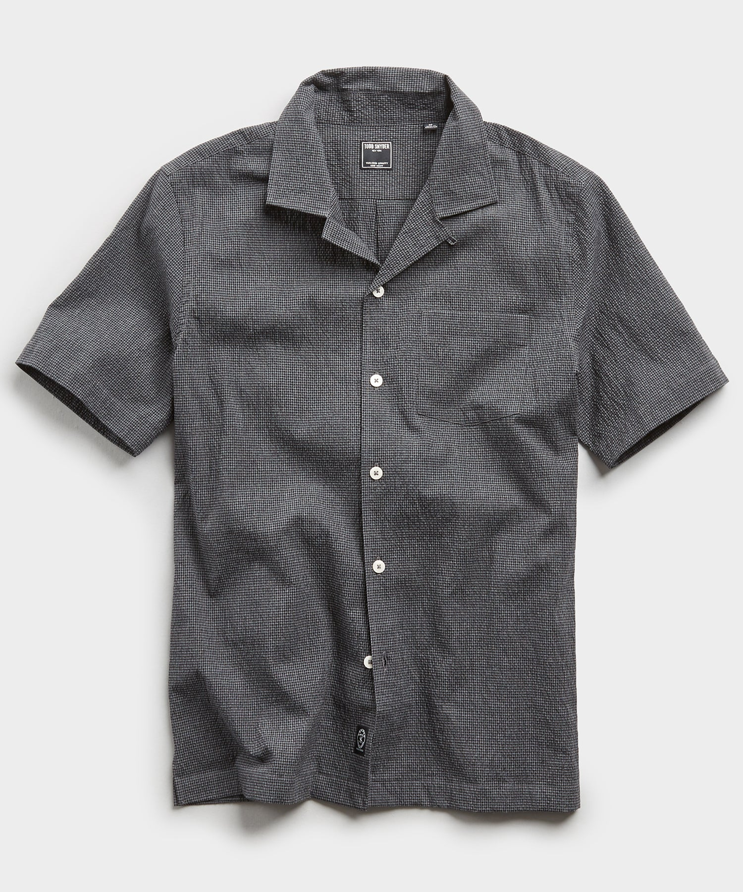 Camp Collar Gingham Seersucker Shirt in Charcoal