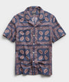 Bandana Print Camp Collar Short Sleeve Shirt in Navy