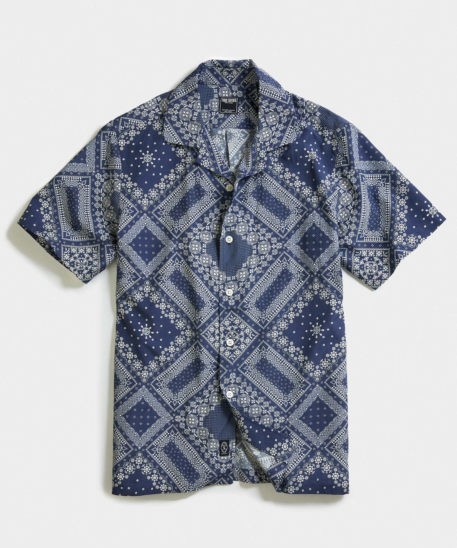 Bandana Print Camp Collar Short Sleeve Shirt in Blue