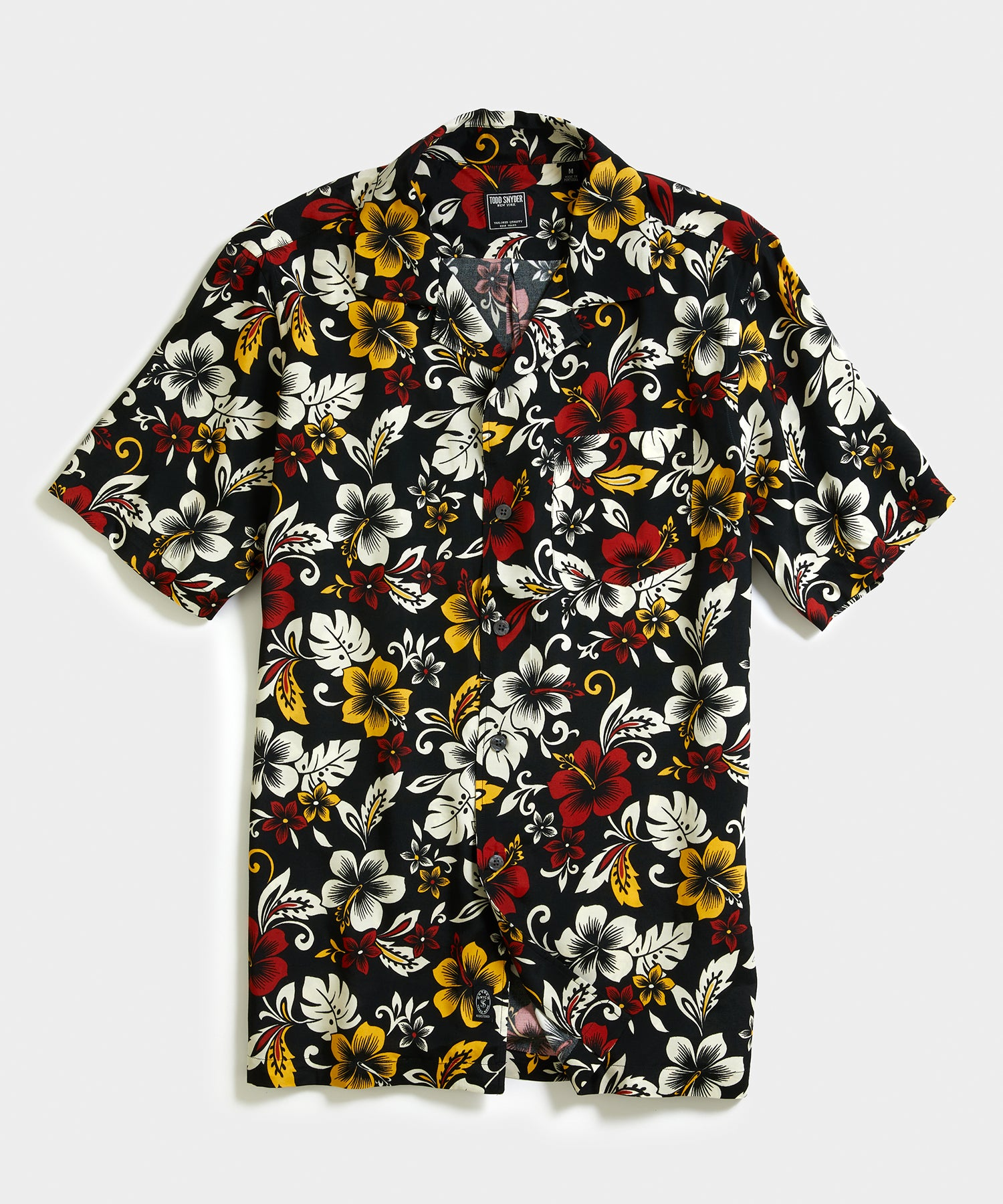 Aloha Hibiscus Print Camp Collar Short Sleeve Shirt in Black