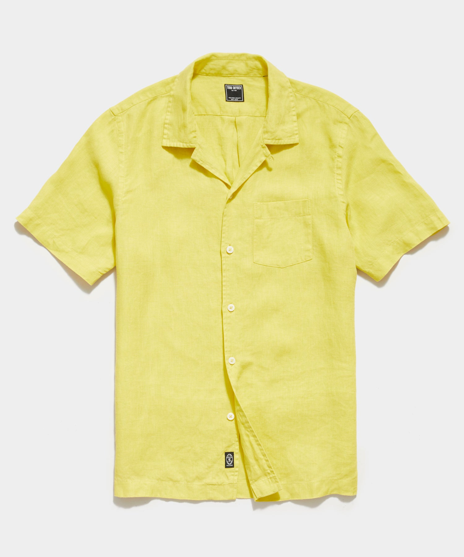 Irish Linen Camp Collar Short Sleeve Shirt in Citron