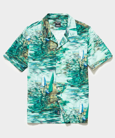 Italian Camp Collar Short Sleeve Shirt in Watercolor Boat Print