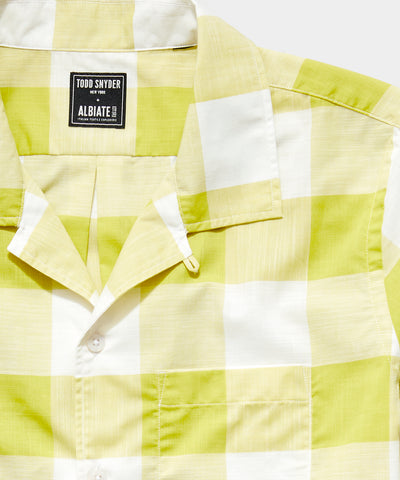 Italian Camp Collar Short Sleeve Shirt in Vintage Yellow Plaid