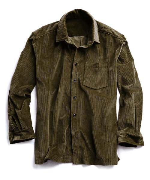 Corduroy Shirt Jacket in Olive